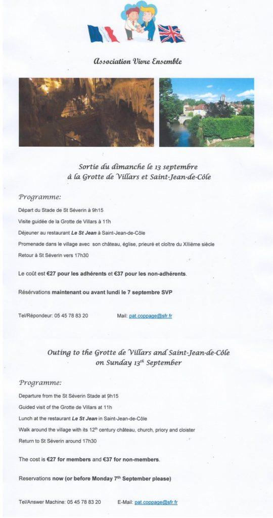 Visite de la grotte de Villars et de St Jean de Côle @ départ au stade de St-Séverin à 9h