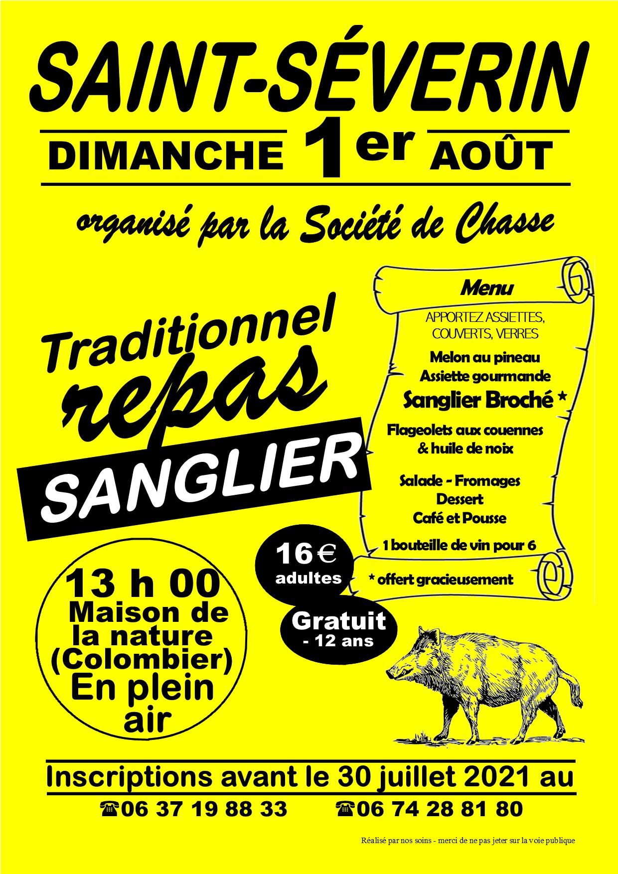 affiche traditionnel repas sanglier Saint-Séverin